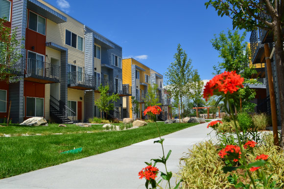 Aria Apartments, an affordable housing project, opened in 2013.