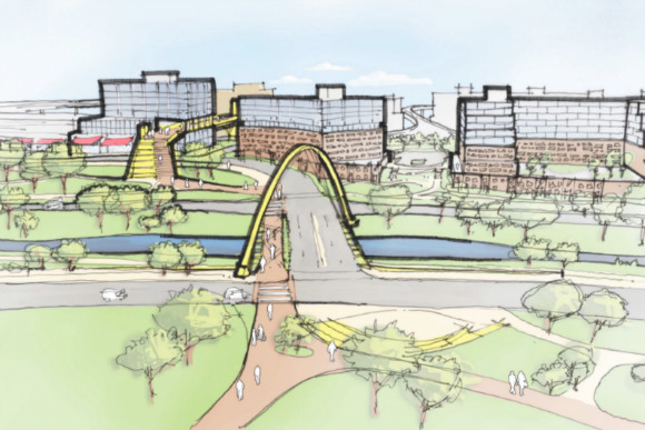 A concept sketch of the Gates Rubber redevelopment.