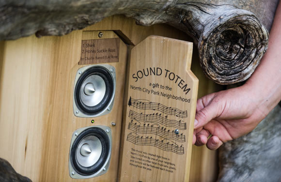 "In 2014, artist Nikki Pike made trees sing when she installed a series of ""sound totems."""