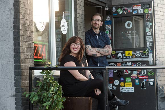 Shauna Lott of the Long i Pie Shop and Eden Myles of Five Points Pizza share space.
