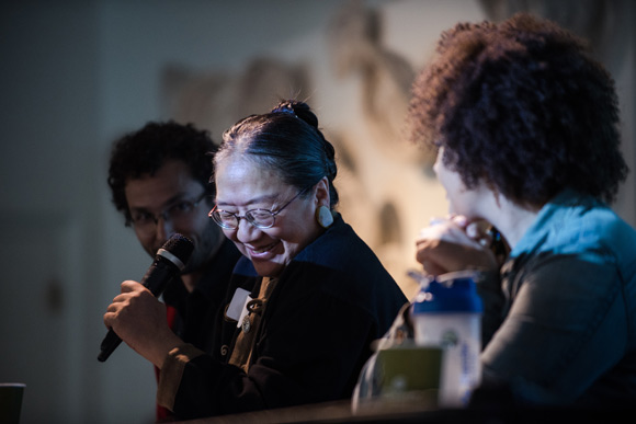 Panelist Maria Cheng, of Theater Esprit Asia, laughs.