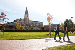 Students walk around University of Denver