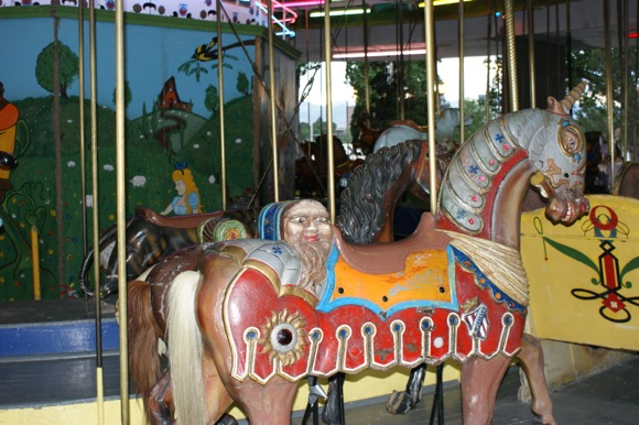 Faces abound on the Merry-Go-Round.