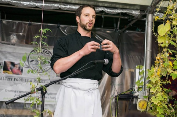 A chef speaks at EatDenver's Harvest Week.