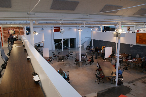 A view of Galvanize Golden Triangle's Atrium from above.