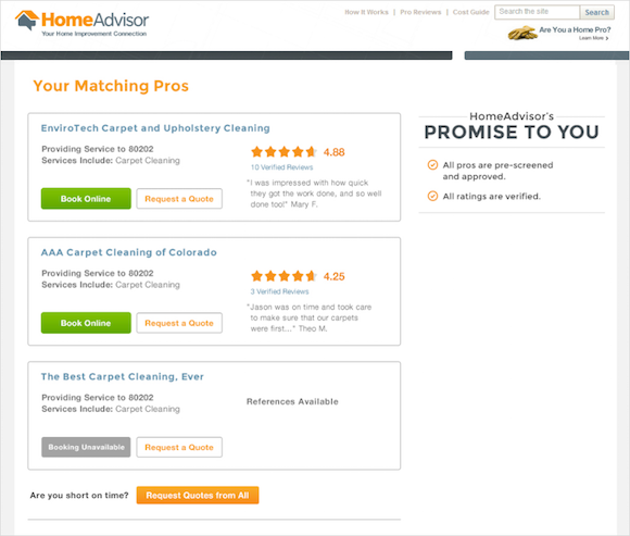 HomeAdvisor's Instant Booking listing.