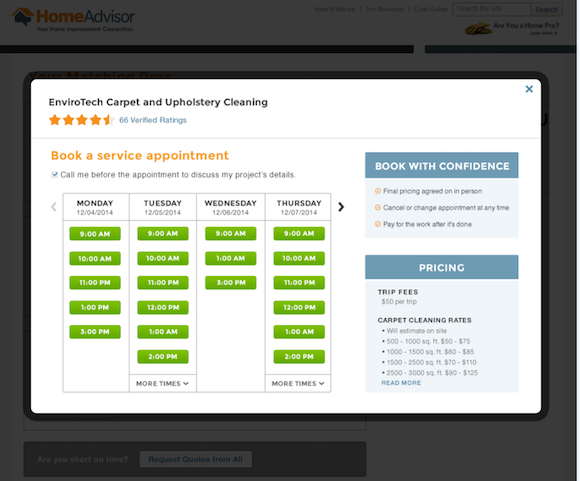 HomeAdvisor's Instant Booking services.
